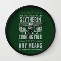 slytherin Wall Clocks featuring Slytherin by Dorothy Leigh