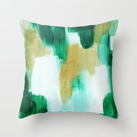 emerald Throw Pillows featuring Emerald by Patricia Vargas