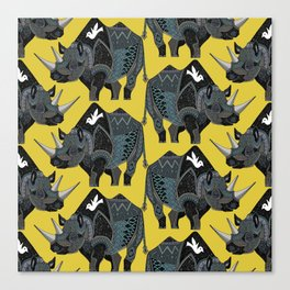 rhinoceros yellow Canvas Print