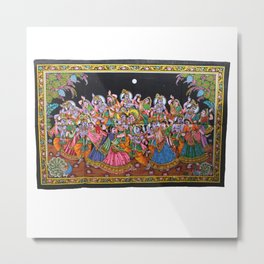 Radha Krishna Raasleela Indian Wall Hanging Tapestry  Metal Print