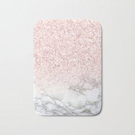 Pretty Rosegold Marble Sparkle Bath Mat