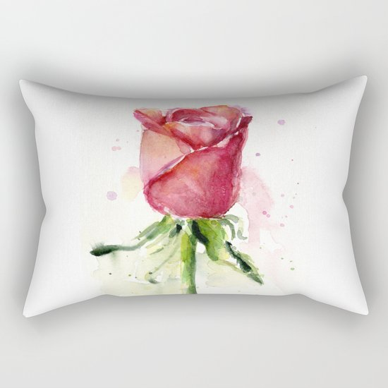 Rose Watercolor Red Flower Painting Floral Flowers Rectangular Pillow