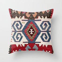 Blue Diamond Arrow Konya // 19th Century Authentic Colorful Cowboy Saddle Accent Pattern Throw Pillow