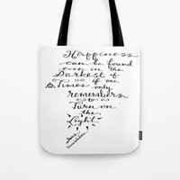 dumbledore Tote Bags featuring Happiness - Dumbledore  by Hayley Lang