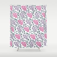 flora Shower Curtains featuring Flora by Shelly Bremmer