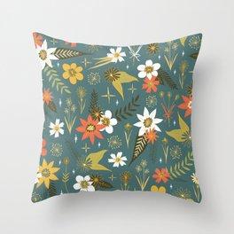 bright fun floral pattern Throw Pillow