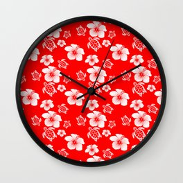 Red And White Turtles Hawaiian Pattern Wall Clock