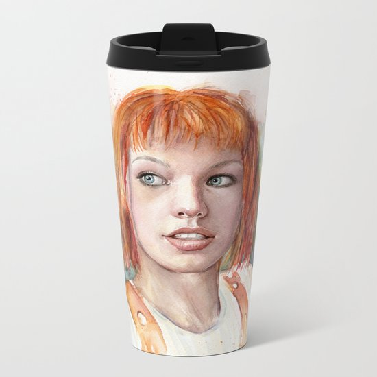 Leeloo Portrait Fifth Element Art Metal Travel Mug
