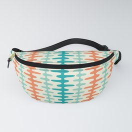 Retro Mid Century Modern Trellis Print Orange and Teal Fanny Pack