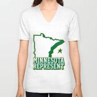 minnesota V-neck T-shirts featuring Minnesota Represent by MNREPSHOW