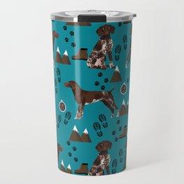 German Shorthair Pointer mountain hiking hiker outdoors camping dog breed Travel Mug