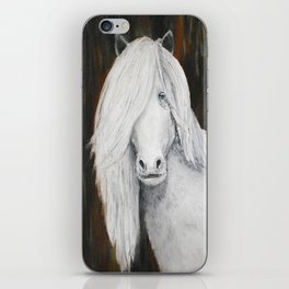 White Shetland Pony Painting iPhone Skin