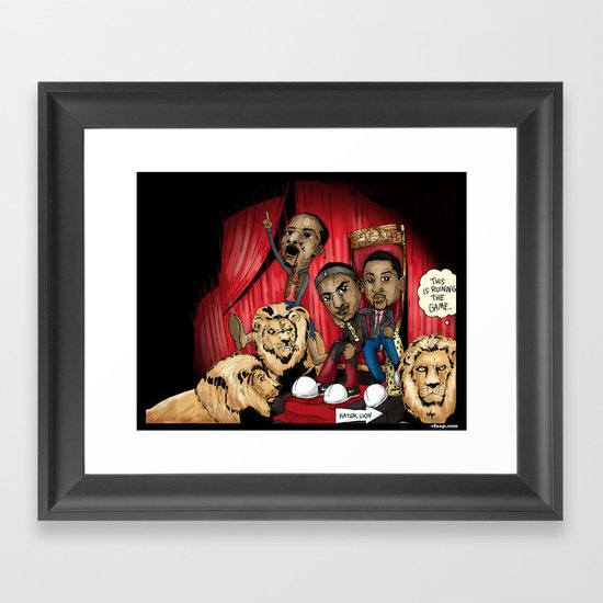 "Miami Heat ""Hater Lion"" Poster Framed Art Print"