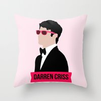 darren criss Throw Pillows featuring Darren Criss with pink shades! by byebyesally