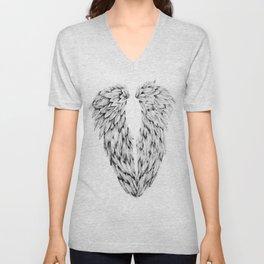 Black and White Angel Wings Unisex V-Neck