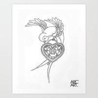 SWALLOW HEART LOCKET Art Print