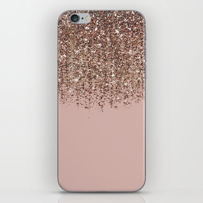 Blush Pink Rose Gold Bronze Cascading Glitter iPhone Skin