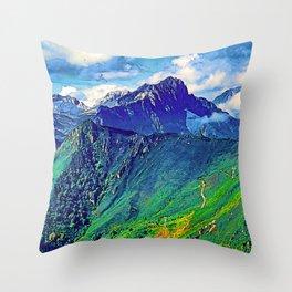 Mountain landscape in the Cordillera Cantabrica. Asturias, Spain. Throw Pillow