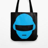 deadmau5 Tote Bags featuring Daft Punk Thomas Bangalter Helmet by Alli Vanes