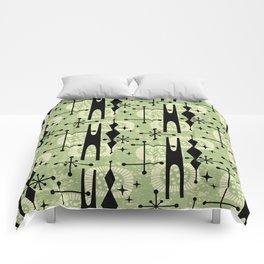 Retro Atomic Mid Century Pattern 771 Sage Comforters