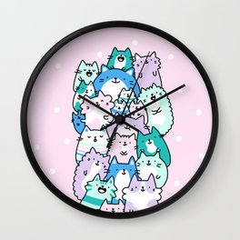 Pastel Pile of Cats Wall Clock