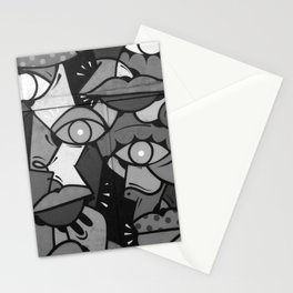Faces Graffiti (Black and White) Stationery Cards