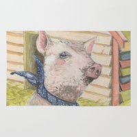 kevin russ Area & Throw Rugs featuring Kevin the piggy by Jia Guo