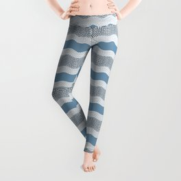 Wavy River in Blue and Gray 1 Leggings