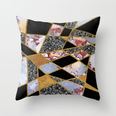Abstract #486 Shards of Onyx, Marble & Gold Throw Pillow