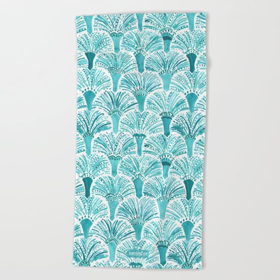 MERMAID TAILS Nautical Scallop Pattern Beach Towel