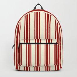 Dark Red & Cream Ticking Stripes Pattern Backpack