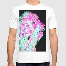 Space Lion White MEDIUM Mens Fitted Tee