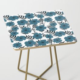 Blue Flowers with Banana Leaves Side Table