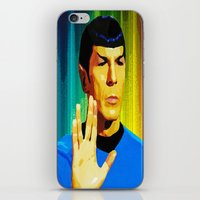 spock iPhone & iPod Skins featuring Spock by The Art Of Gem Starr