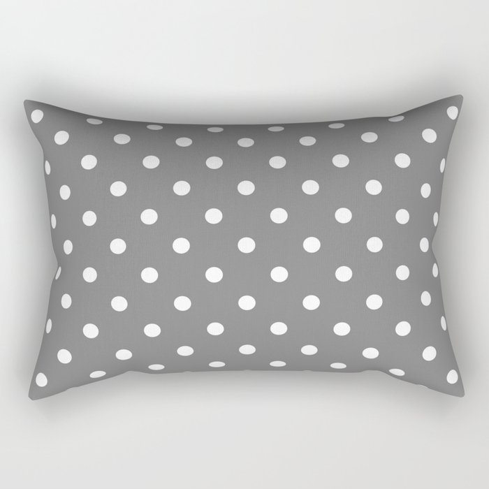 Grey & White Polka Dots Rectangular Pillow