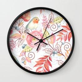 Little Robin Floral & Leaf Wall Clock