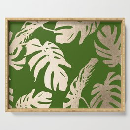 Palm Leaves White Gold Sands on Jungle Green Serving Tray