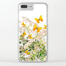 WHITE ART GARDEN ART OF YELLOW BUTTERFLIES Clear iPhone Case