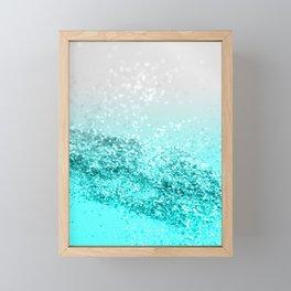 Silver Gray Aqua Teal Ocean Glitter #1 #shiny #decor #art #society6 Framed Mini Art Print