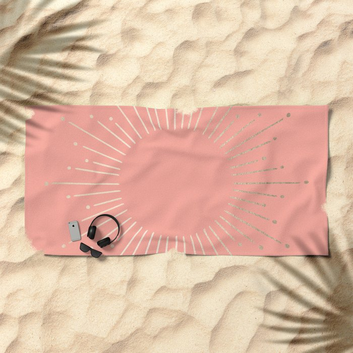 Simply Sunburst in White Gold Sands on Salmon Pink Beach Towel