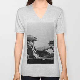 Mr. Dean in Cowboy Hat Classic Hollywood Iconic black and white photograph Unisex V-Neck