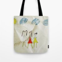 sisters Tote Bags featuring Sisters?  by Ethna Gillespie