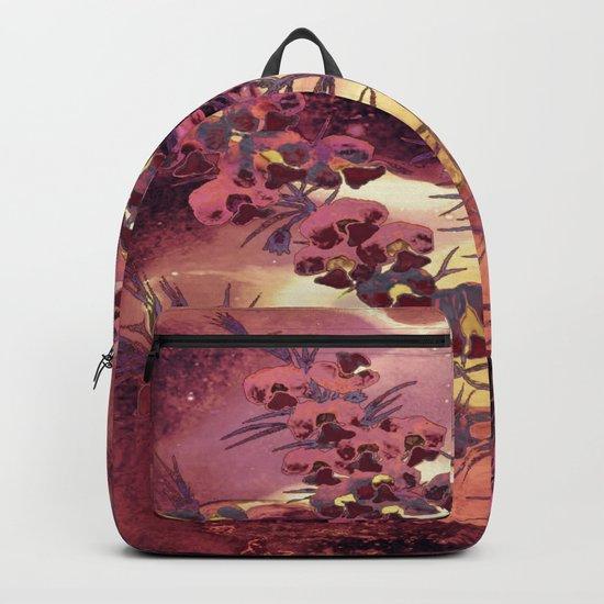 pink Christmas landscape Backpack