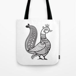 Ethic Indian Duck Bird B&W Tote Bag