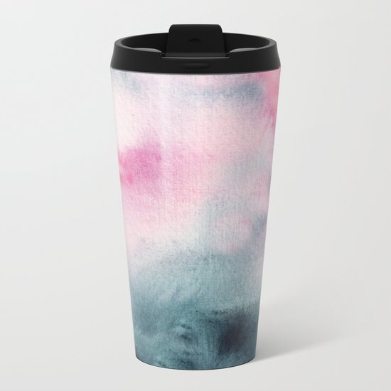 When indigo meets pink || watercolor Metal Travel Mug