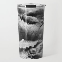 gray black and white gradient, marbling watercolor paint in monotype technique, abstract texture Travel Mug