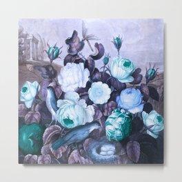 Teal Roses Blue Birds : Temple of Flora Metal Print