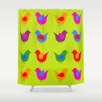 scandinavian Shower Curtains featuring Scandinavian Birds by The Red Umbrella Shop