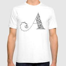 Floral Letter A White Mens Fitted Tee SMALL