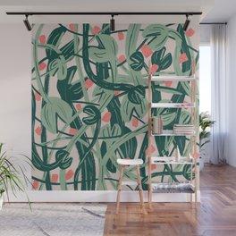 peach ivy venus fly trap print Wall Mural